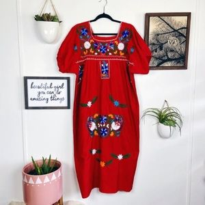 Vintage Mexican Oaxaca Hand Embroidered Midi Dress